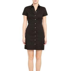 Navy Blue Button-Down Short-Sleeve Shirtdress